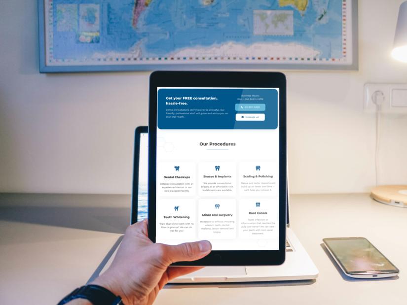 Crystal Dental website on iPad