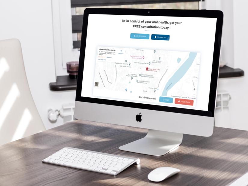 Crystal Dental website on iMac